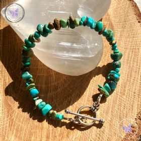 Turquoise Chip Bracelet With Silver Toggle Clasp